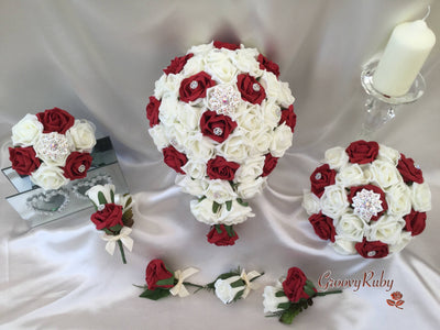 Red & Ivory Rose With Iridescent Brooches