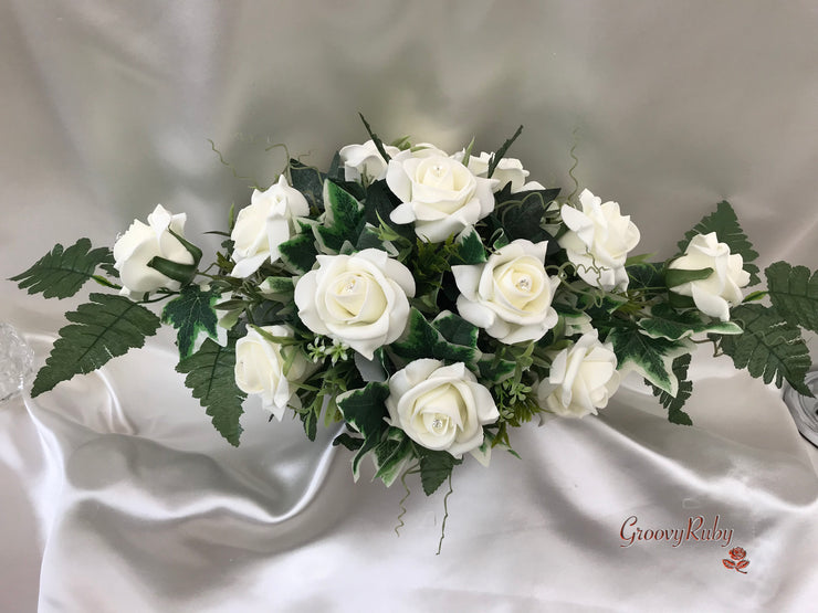 Ivory Rose Table Centrepiece