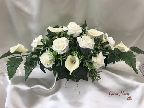 Ivory Rose & Calla Lily Table Centrepiece