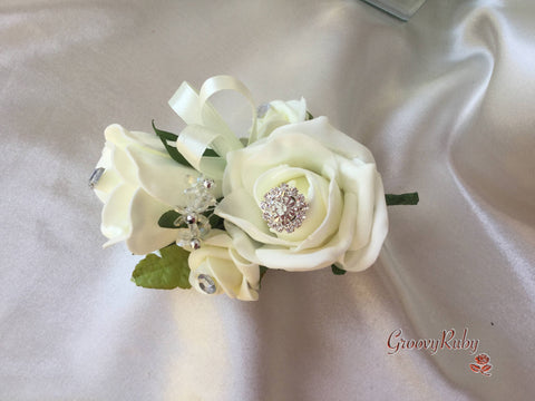 Large Ladies Pin On Corsage With Crystal Spray & Ribbon - Colour Combination Of Your Choice