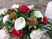 Long Table Arrangement With Gold Glitter Poinsettias With Roses & Calla Lilies