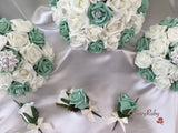 Mint Green & Ivory Rose With Iridescent Brooches