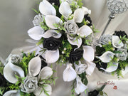 Silver & Black Rose & Large White Calla Lily