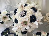 Small Tiger Lilies & Navy & Ivory Roses With Diamanté Brooch