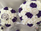 Cadbury Purple & Ivory Roses With Exquisite Large Pearl & Diamante Brooch & Pearl Loops