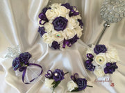 Cadbury Purple Shimmer Roses With Iridescent Brooches & Ribbon Loops