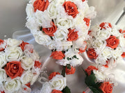 Orange Rose Glitter Ribbon With Babies Breath