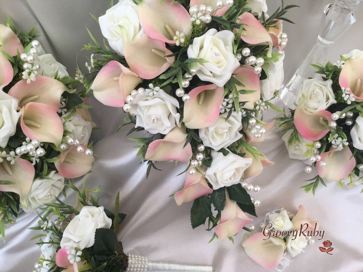 Ivory Candy Pink-Edged Calla Lilies With Ivory Roses, Foliage & Large Pearl Sprays