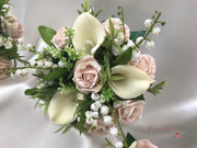 Mocha Pink Rose & Large Calla Lily With Lily of the Valley