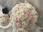Mocha Pink & Ivory Rose With Silver & Crystal Butterfly