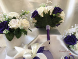 Cadbury Purple, Iced Lilac Centred & Ivory Roses With Gypsophila, Pearl Loops & Pearl Sprays