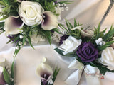 Plum Centred Calla Lilies With Roses & Lily of the Valley