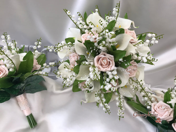 Mocha Pink Roses, Lily of the Valley & Large Calla Lily