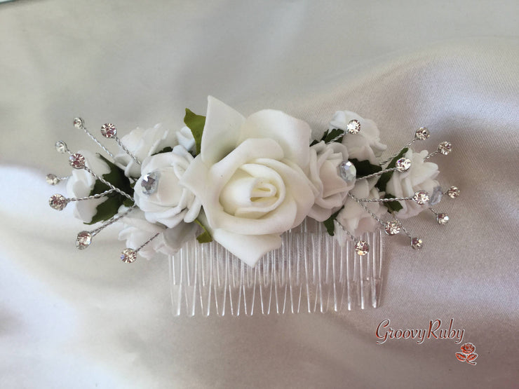 "5"" White Crystal Hair Comb - Rose Bud Colour Of Your Choice"