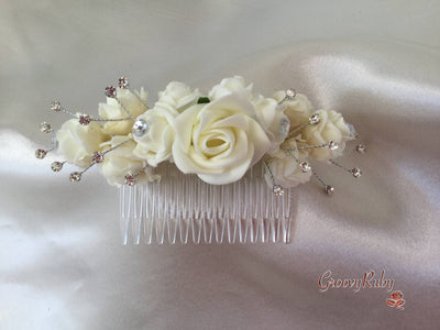 "5"" Ivory Crystal Hair Comb - Rose Bud Colour Of Your Choice"