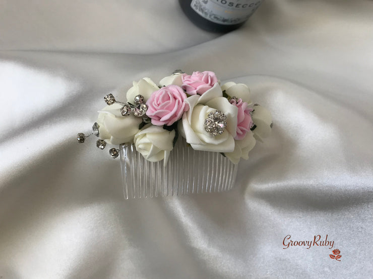 Baby Pink & Ivory Crystal Hair Comb