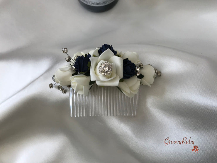 Navy & Ivory Crystal Hair Comb