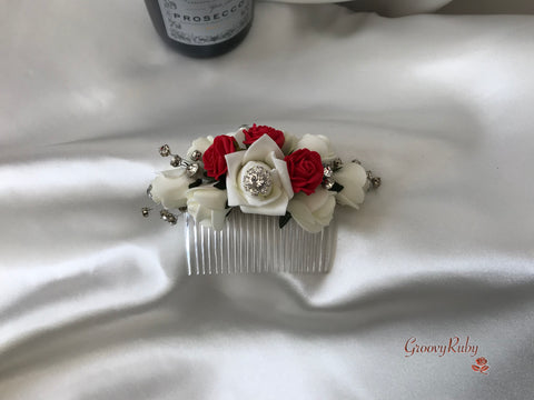 Red & Ivory Crystal Hair Comb