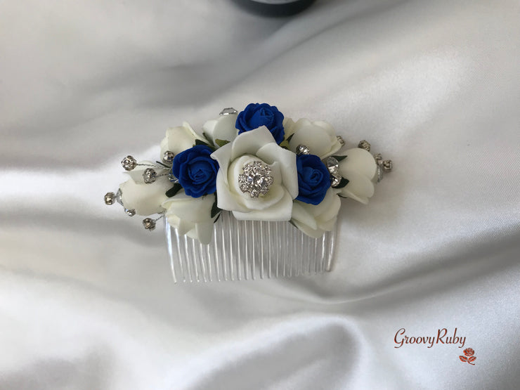 Royal Blue & Ivory Crystal Hair Comb
