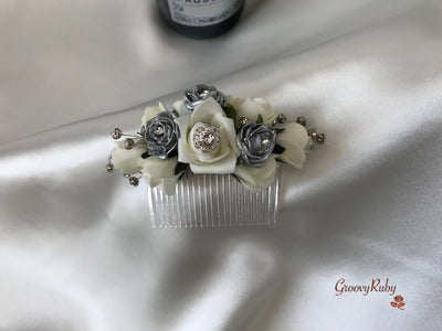 Silver & Ivory Crystal Hair Comb