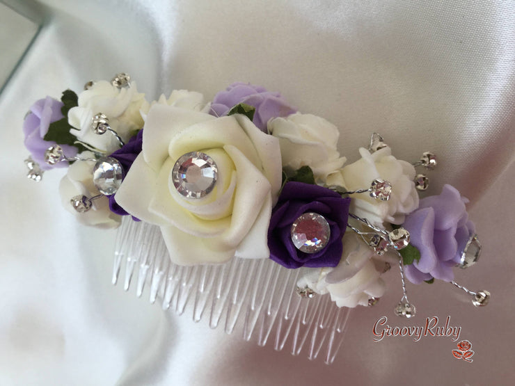 Purple, Lilac & Ivory Hair Comb