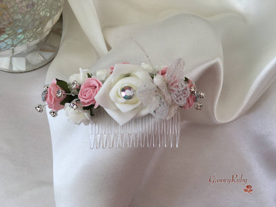 Dusky Pink & Ivory Glitter Butterfly Hair Comb