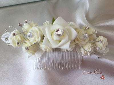 Crystal Hair Comb - Rose Bud Colour Of Your Choice