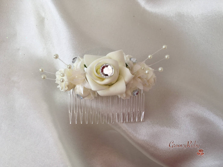 Ivory Rose Crystal With Ivory Pearl Babies Breath