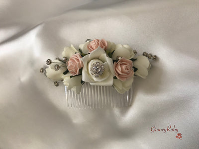 Mocha Pink & Ivory Crystal Hair Comb