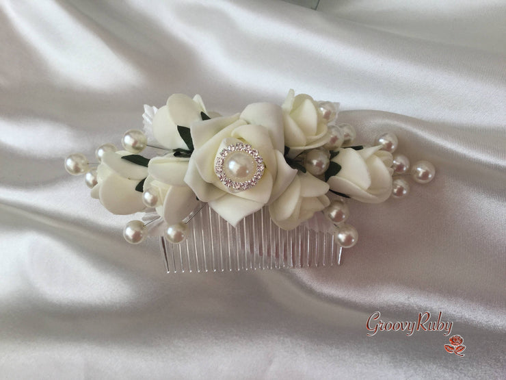 Ivory Bridal Hair Comb With Pearl Brooch