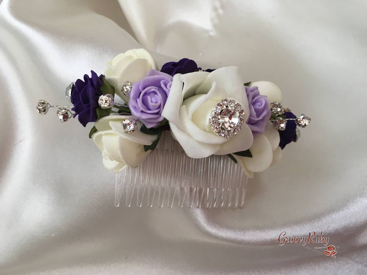 Purple, Lilac, Silver & Ivory Roses With Diamanté Brooches