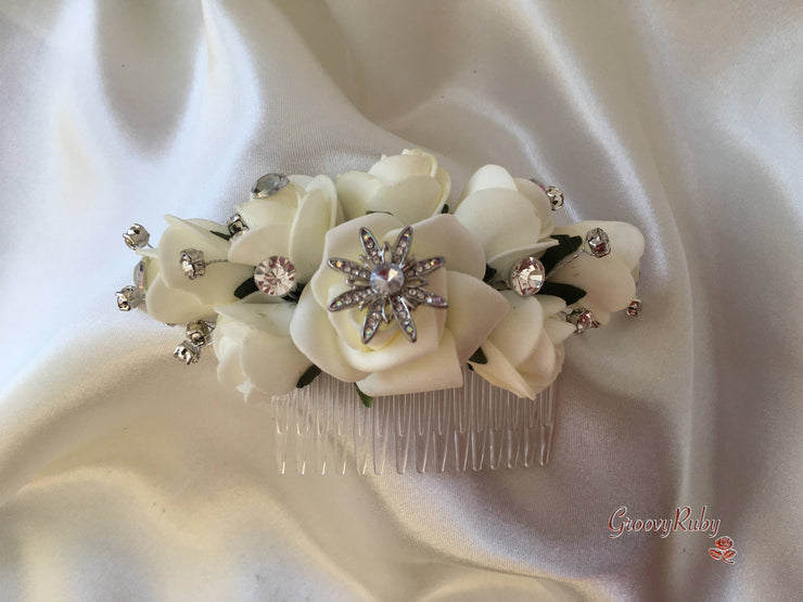 Ivory Roses With Crystal Sprays & Star Brooch