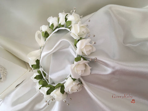 Bridesmaid Flower Head Garland - Ivory