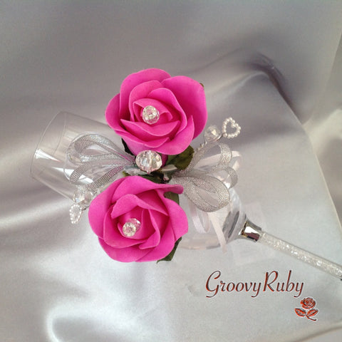 Diamante Wrist Corsage With Hot Pink Roses