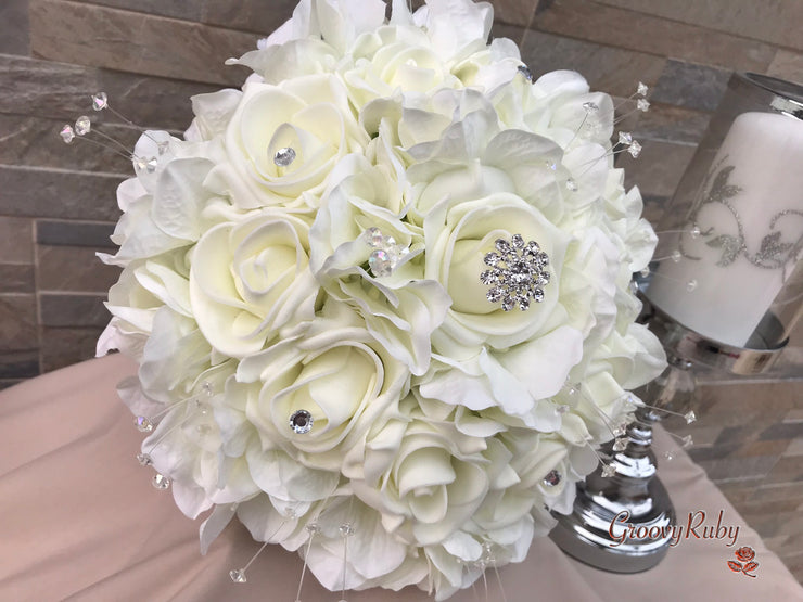 Ivory Hydrangea With Roses, Crystals & Diamanté Brooch