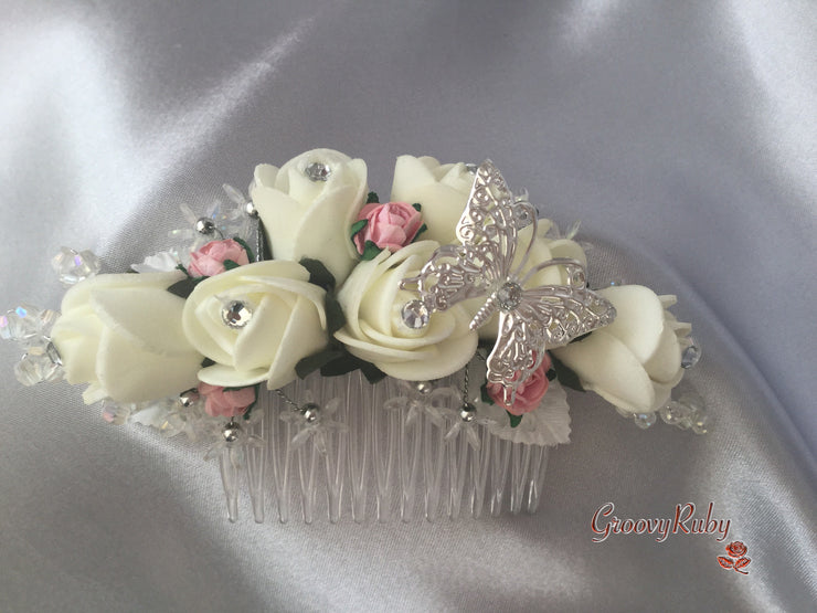 Baby Pink & Ivory Butterfly Hair Comb