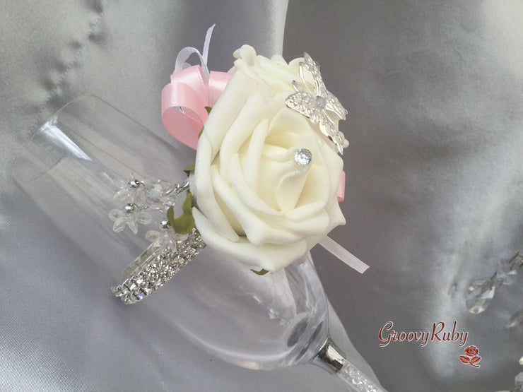 Butterfly, Baby Pink Ribbons, Diamante Wrist Corsage