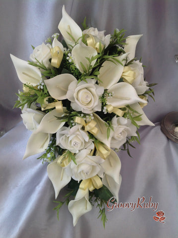 Ivory Rose & Large Calla Lily, Added Yellow Ribbon Loops