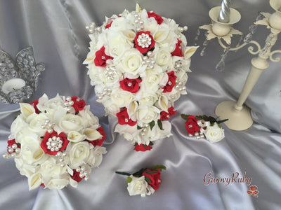 Red & Ivory Rose & Small Calla Lily With Pearl Brooch