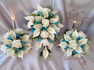 Ivory Rose & Large Calla Lily, Added Turquoise Ribbon Loops