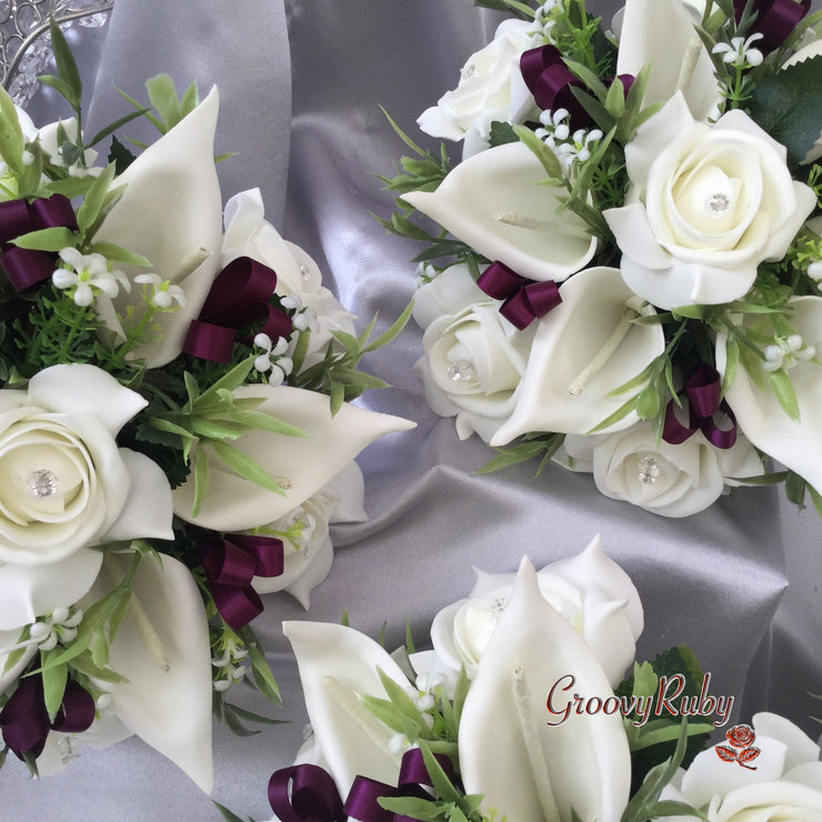 Ivory Rose & Large Calla Lily, Added Aubergine Ribbon Loops