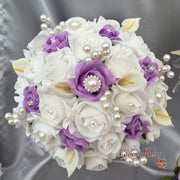 Lilac & White Rose & Small Calla Lily With Pearl Brooch