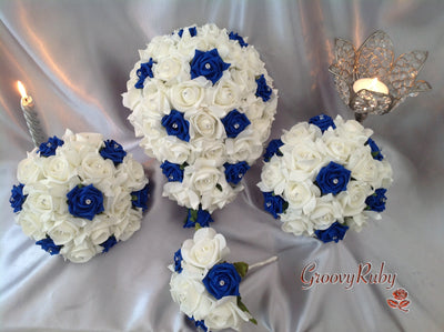 Royal Blue & Ivory Rose Crystal