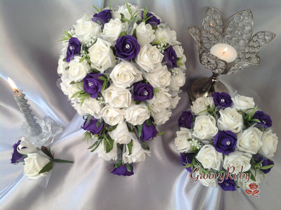 Purple & Ivory Lace Rose & Foliage