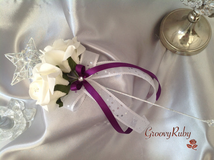Silver Star Flower Girl Wand With Cadbury Purple Ribbons