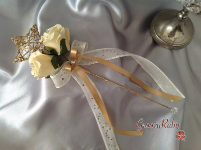 Gold Flower Girl Wand With Cream Roses & Gold Ribbons