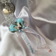Baby Blue & Ivory Butterfly Crystal