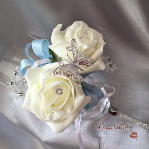 Butterfly, Baby Blue Ribbons, Diamante Wrist Corsage