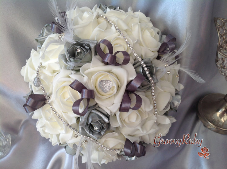 Grey Silver Tipped Roses, Diamante Chain, Crystal Heart