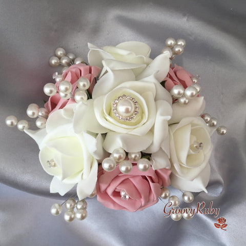 Dusky Pink & Ivory Pearl Brooch Cake Topper